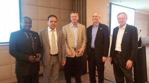 With L. G. Jones (ABET, President), M. Milligan (ABET, CEO), A. Obiazi (Dean, AAU), L. Wood (Dean, UNSW)