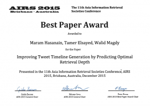 AIRS 2015 Best Paper Award